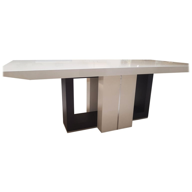 Black And White High Gloss Dining Table For