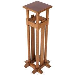 Oak Dutch Art Nouveau Arts & Crafts Pedestal in the Style of A.J. Kropholler
