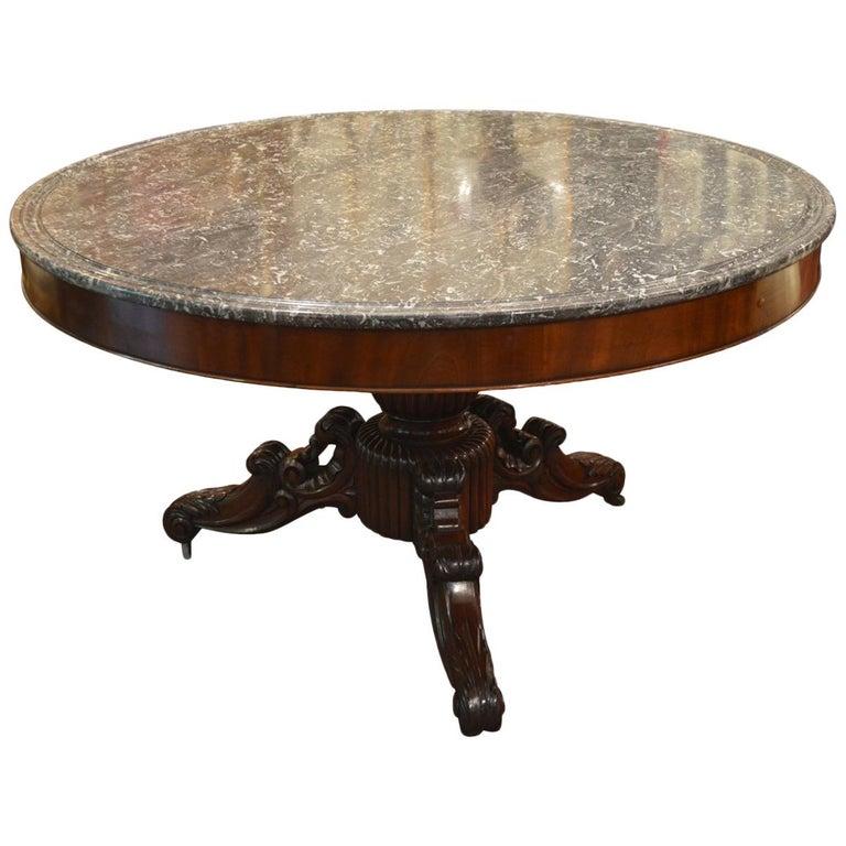 Rare 19th Century French Mahogany and Dish-Top Marble Guéridon Table