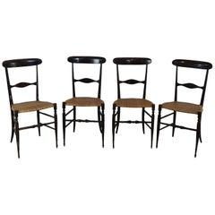 20th Century Italian Campanino Classic Chiavari Chairs Set of Four Chairs