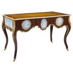 Victorian Gilt-Bronze and Jasper-Ware Mounted Writing Table
