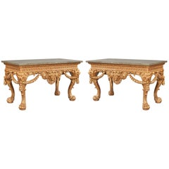 Pair of 19th Century Giltwood and Marble Console Tables