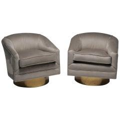 Milo Baughman Style Mid-Century Modern Velvet Swivel Chairs on Brass Bases