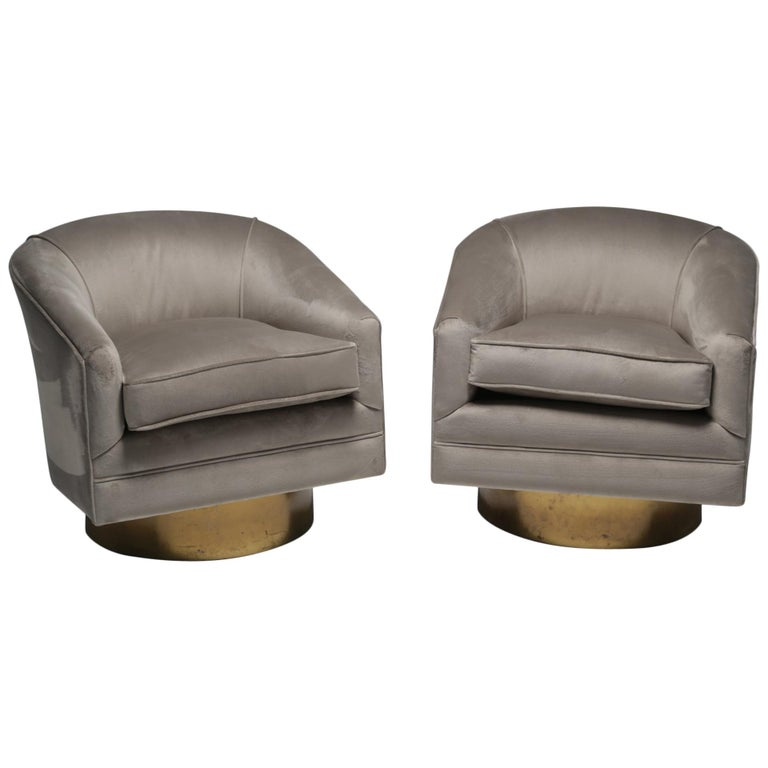 Milo Baughman style brass swivel mid-century chairs