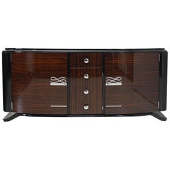 Palisander Sideboard Art Deco Cabinet French High Gloss Lacquered, circa 1925