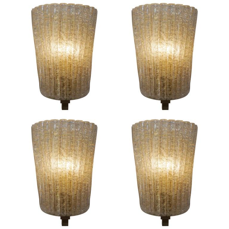 Set of Four Murano Glass Wall Sconces