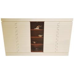 Large Matt White Sideboard with an Open Middle Compartment