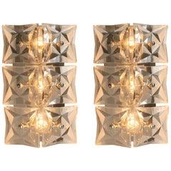 Pair of Kinkeldey Wall Light Fixtures, Nickel Crystal Glass, 1970