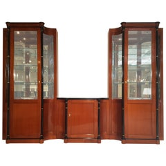 Large Biedermeier Style Vitrine Cabinet Made of Cherry