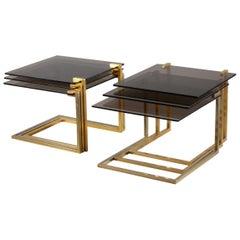 Set of Pair Smokeglass Brass Nesting Tables, France, 1970