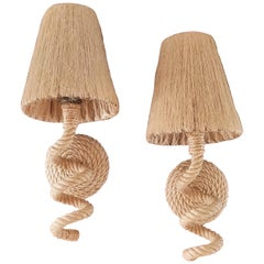 Rope Sconces with Original Raffia Shades by Audoux Minet, France, 1960s