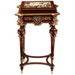 J-P. Tahan Attributed, Louis XVI Style Veneered Wood Jewel Table