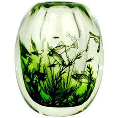 Scandinavian Modern Orrefors Graal Fish Vase by Edward Hald