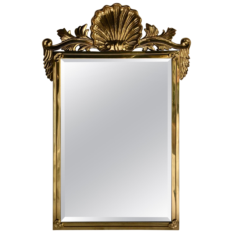 Italian Hollywood Regency Style Mastercraft Style Brass Shell Motif Wall Mirror