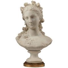 Splendid Bust of Flora by A-E. Carrier-Belleuse