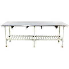 Industrial Table with Iron Base and Stainless Steel Top