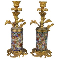 Pair of Sore Bronze-Mounted Cloisonné Candleholders