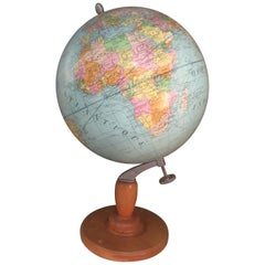 """French """"Girard et Barrere"""" World Globe on a Wooden Base, 1930s"""