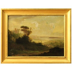 Italian Signed Painting Landscape with Castle and Knight Oil on Canvas