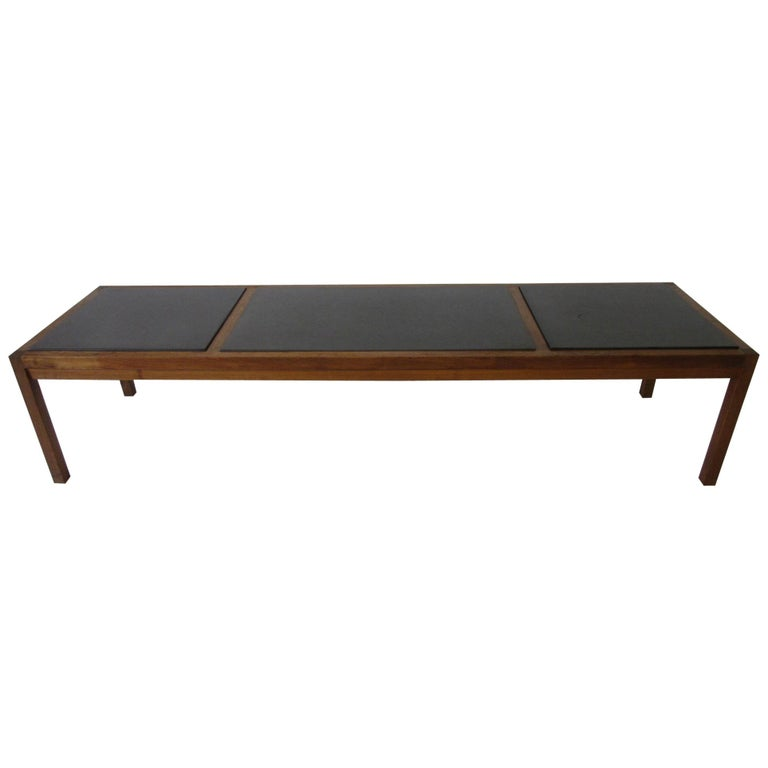 Danish Styled Walnut and Slate Coffee Table