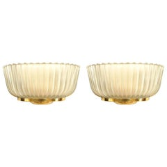 Pair of Italian 1940s Frosted Glass Wall Sconces, Attributed: Barovier e Toso