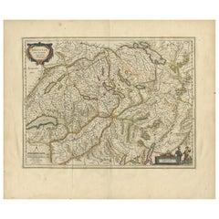 Antique Map of Switzerland by G. Blaeu, circa 1634