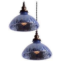 Matching Pair of Quilted Blue Mercury Glass Pendant Lights