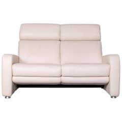 Willi Schillig Designer Leather Sofa Beige Two-Seat Couch Recliner