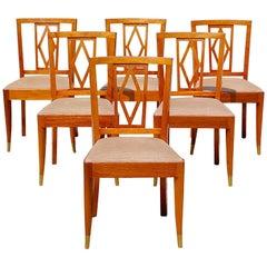 Set of Six Art Deco De Coene Frères Dining Chairs, 1930s Belgium