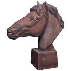 English Cast Iron Horse Head Garden Statue