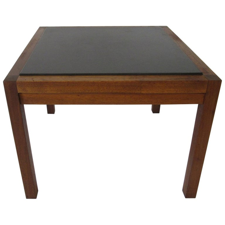Danish Styled Walnut and Slate Side Table