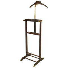 Italian 1940s Mahogany Stained and Brass Valet Stand