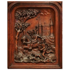 Large 19th Century French Carved Patinated Walnut Panel in High Relief