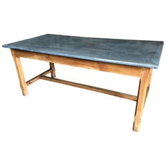French Zinc-Top Farm Table, 19th Century