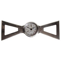 English Art Deco Chrome Bowtie Industrial Electric Wall Clock