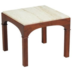 John Keal Side Table with Travertine Top for Brown Saltman
