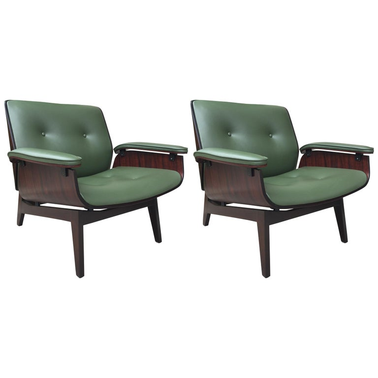 Pair of Rare Ico Parisi Rosewood Lounge Chairs for MIM Roma