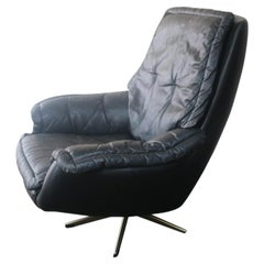 Danish Midcentury 1970s Leather Lounge Chair