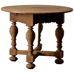 Table Swedish Baroque Drop-Leaf 18th Century Oak, Sweden