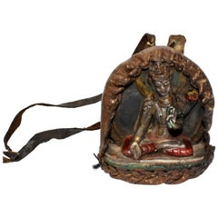 Antique Tibetan Amulet, Leather with Silvered Terracotta Tara