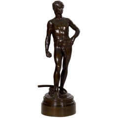 "Antique French Bronze Sculpture of ""David"" by F. Barbedienne and Antonin Mercie"