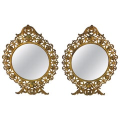 American Victorian Round Gilt Metal Table Mirrors