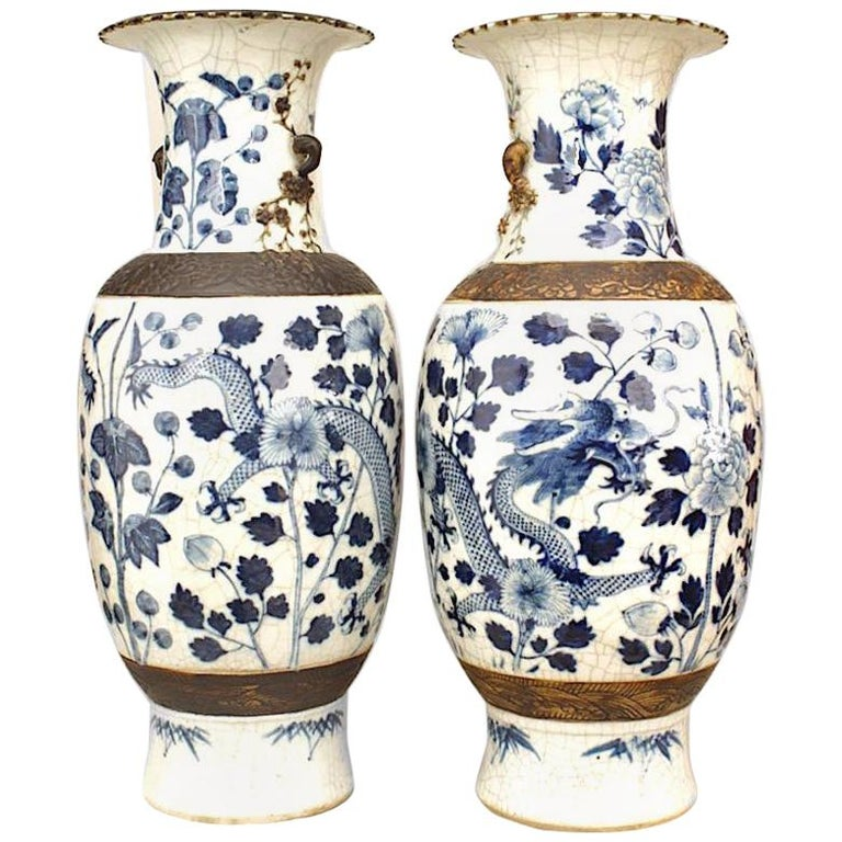 Pair Of Green And White Chinese Porcelain Vases For Sale At 1stdibs