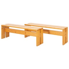 Pair of Mid-Century Modern Pine Benches by Charlotte Perriand for Les Arcs