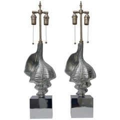 Pair of Sea Shell-Form Table Lamps in Aluminium