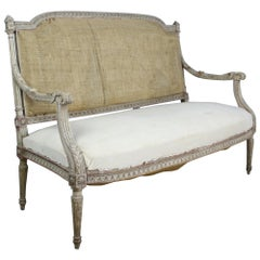 Gustavian Sofa, Original Horsehair Stuffing and Original Paint
