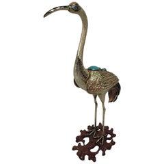 Antique Chinese Silver Gilt and Enamel Crane Bird Figure
