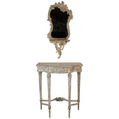 French Painted Mirror and Console, circa 1930s