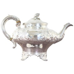 19th Century English Silver Teapot by Hyam Hyams London, circa 1857