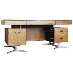 Large German Brutalist Wenge Desk by HR, 1960s